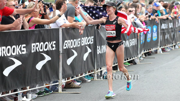 41-year-old Deena Kastor broke the Masters half marathon world record. Photo credit: running.competitor.com