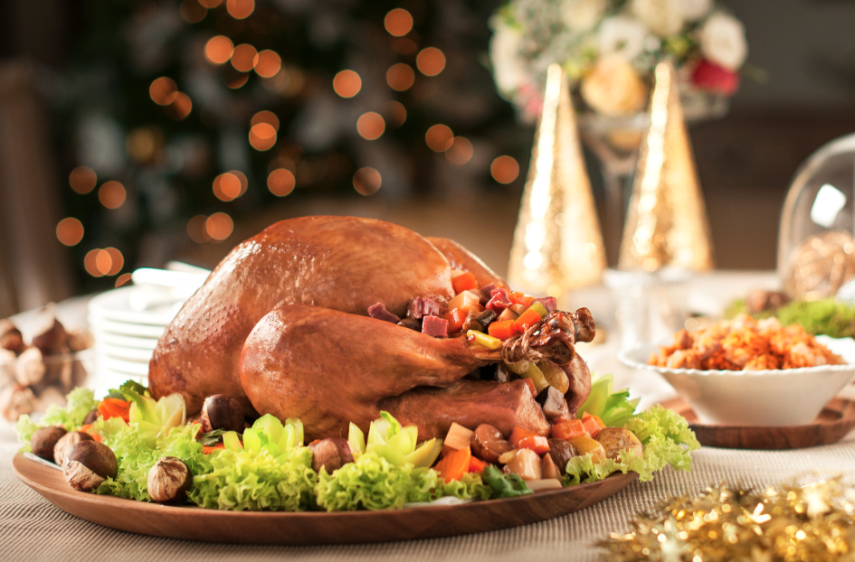 Steam Baked Turkey stuffed w Fresh Chestnuts, Ham & Vegetables, served w Yam Rice