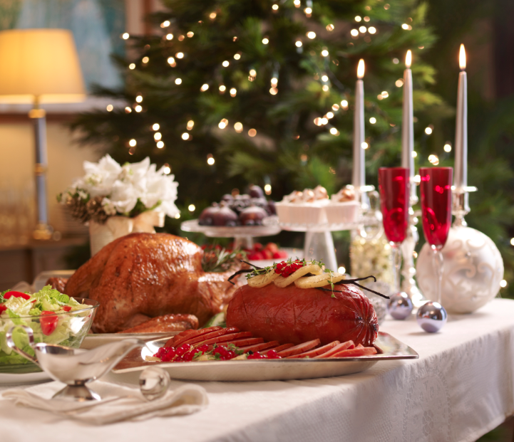 Traditional Christmas turkey and honey-glazed ham (Photo from Goodwood Park Hotel)
