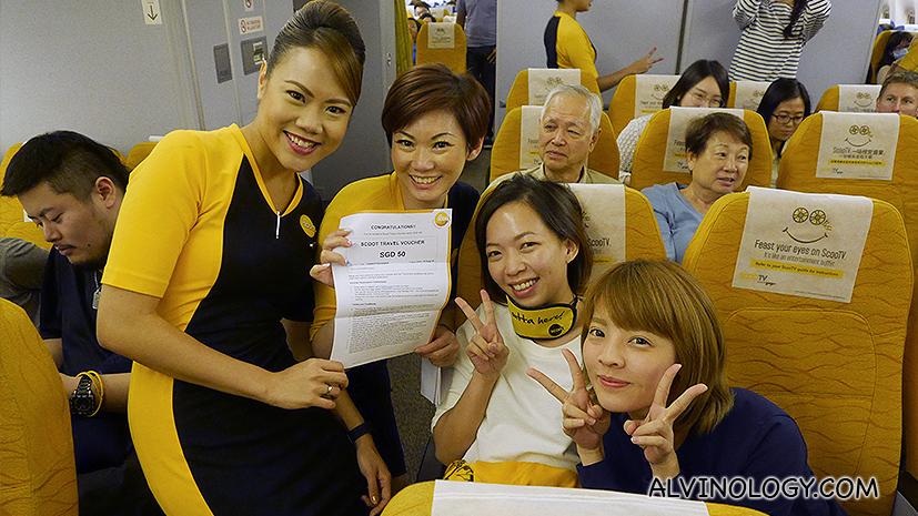 Team Malaysia won a small prize on board the Scoot flight to Queensland