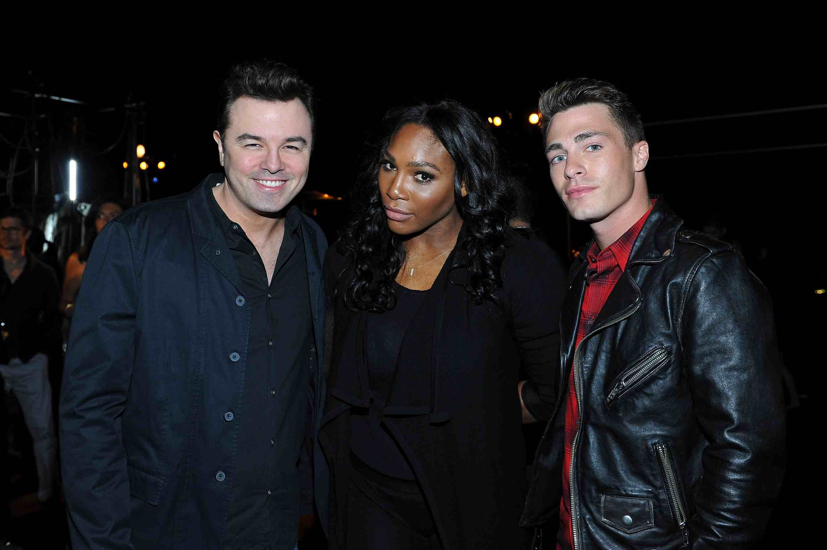 "BEVERLY HILLS, CA - NOVEMBER 18: (L-R) Entertainer Seth MacFarlane, athlete Serena Williams and actor Colton Haynes attend Louis XIII Celebration of ""100 Years"" The Movie You Will Never See, starring John Malkovich at a private residence on November 18, 2015 in Beverly Hills, California. (Photo by Donato Sardella/Getty Images for Louis XIII)"
