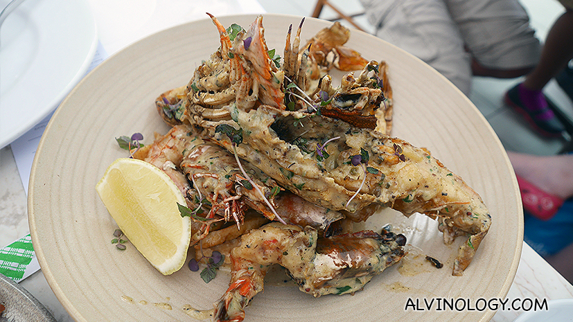Char-grilled Bugs, Prawns, Scallops, Calamari - garlic, parsley, butter, lemon, green kale salad, served with chunky chips