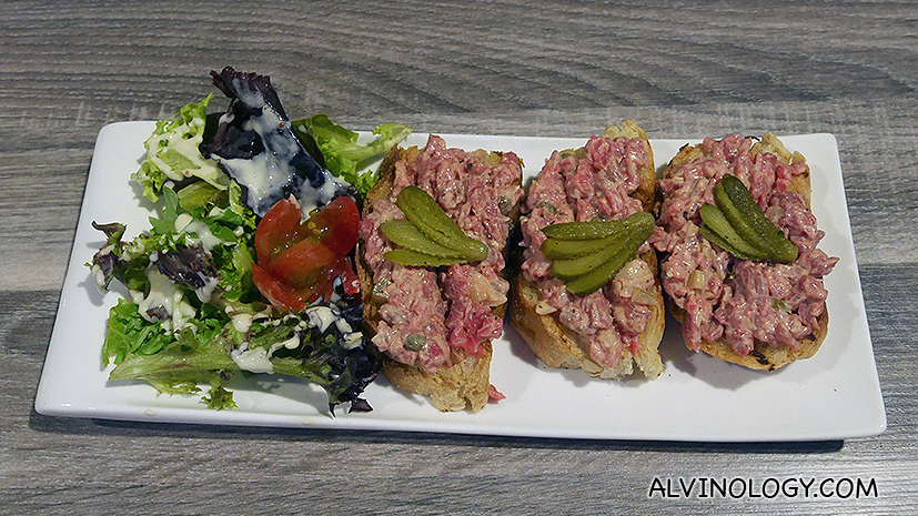 Beef Tartare on Toast - Steak tartare, gherkin, toast (S$14)