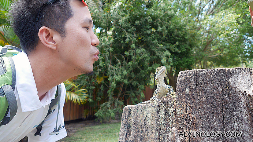 My thai friend, Bomb, trying to kiss a gecko