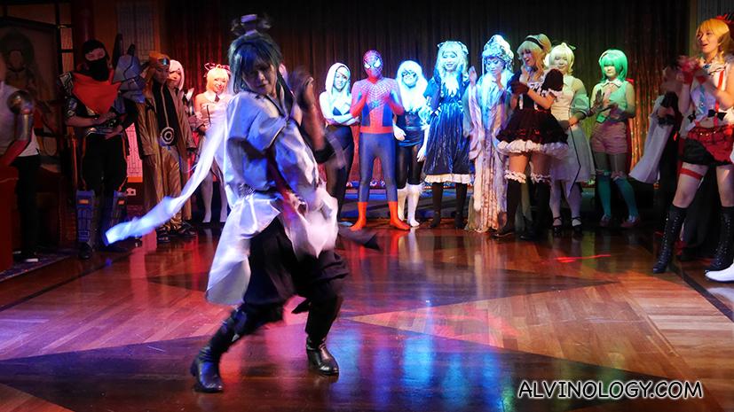 Team Japan leading a dance