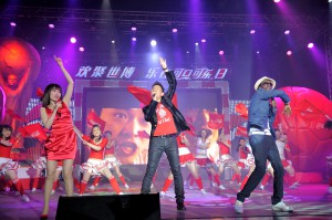 Jacki, Zhang, Jane Zhang and K'Naan sing world cup coke anthem first ever to celebrate coke birthday