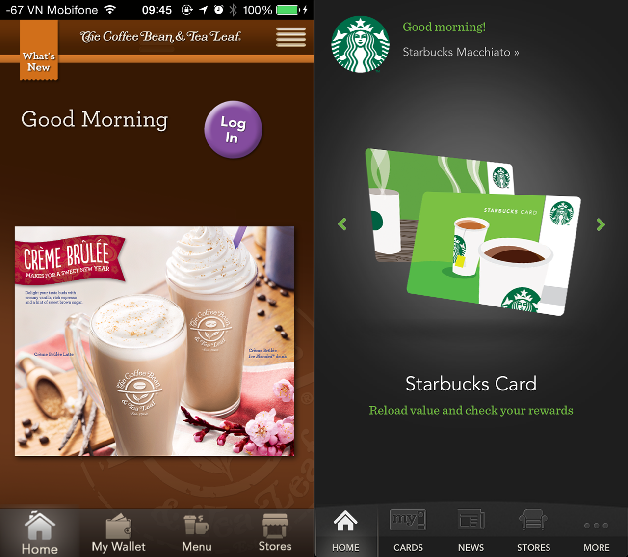 Left: Coffee Bean App. Right: Starbucks App. You must be kidding about that 'Login' button placement!