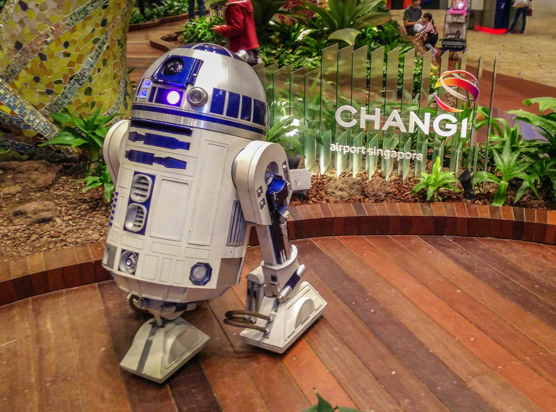 R2-D2 astromech droid spotted at Changi Airport. Photo © by Justin Teo.