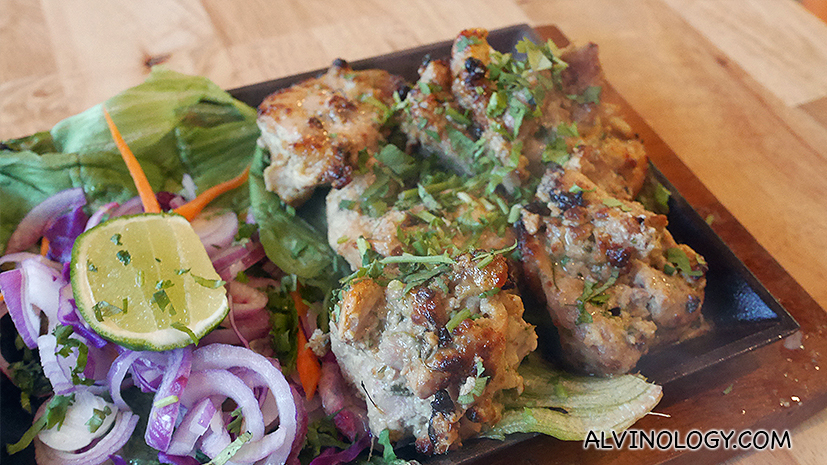 Chicken Malai Tikka (S$11) - Boneless chicken marinated with cream, cheese, spices and yogurt. Baked in a Tandoor oven.