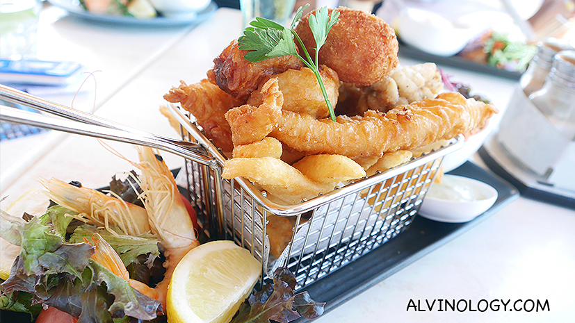 Seafood in a basket