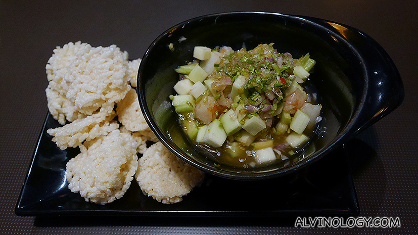Prawn and Green Mango Relish - served with thai rice crackers
