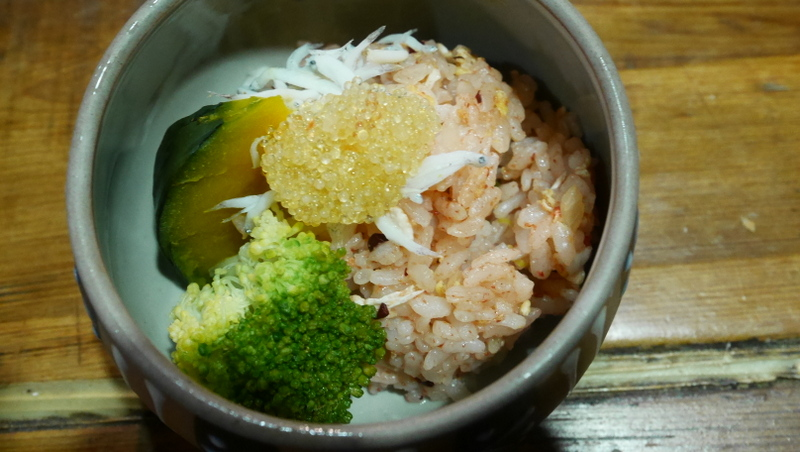 Taiwanese rice with anchovy, fish roe, broccoli, pumpkin and mixed with a slightly spicy and sour sauce akin to that of kimchi.
