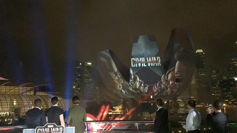 Singapore Glows Red, White and Blue for #TeamCap at Helix Bridge and Marina Bay Sands