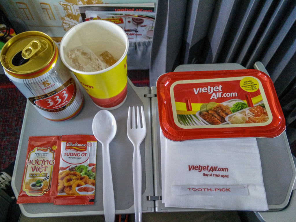 Hot meals available onboard Vietjet Air, complimentary if you fly Skyboss. I highly recommend the Vietnamese coffee (not shown here.) Photo by Justin Teo.