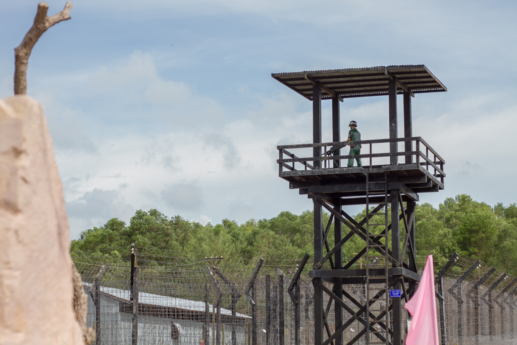 The guard tower at the Coconut Tree Prison on Phu Quoc looks eerily life-like from a distance. Photo by Justin Teo.