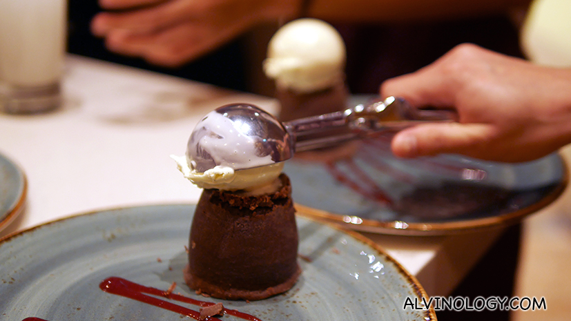 Add a scoop of ice cream atop the lava cake