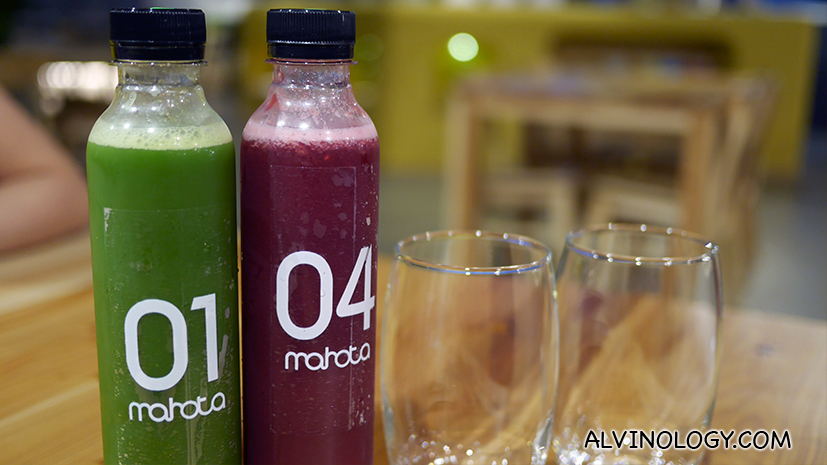 Cold-pressed juices (S$7.90 per bottle), prepared fresh every morning