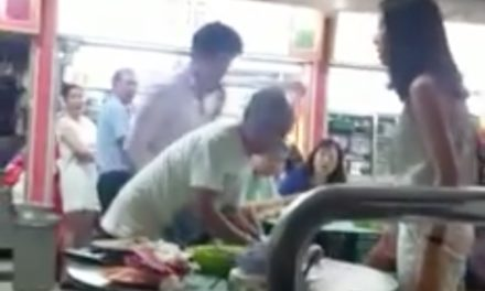 Audio transcript of video showing well-dressed young couple pushing and bullying an old man at Toa Payoh Lor 8 hawker centre
