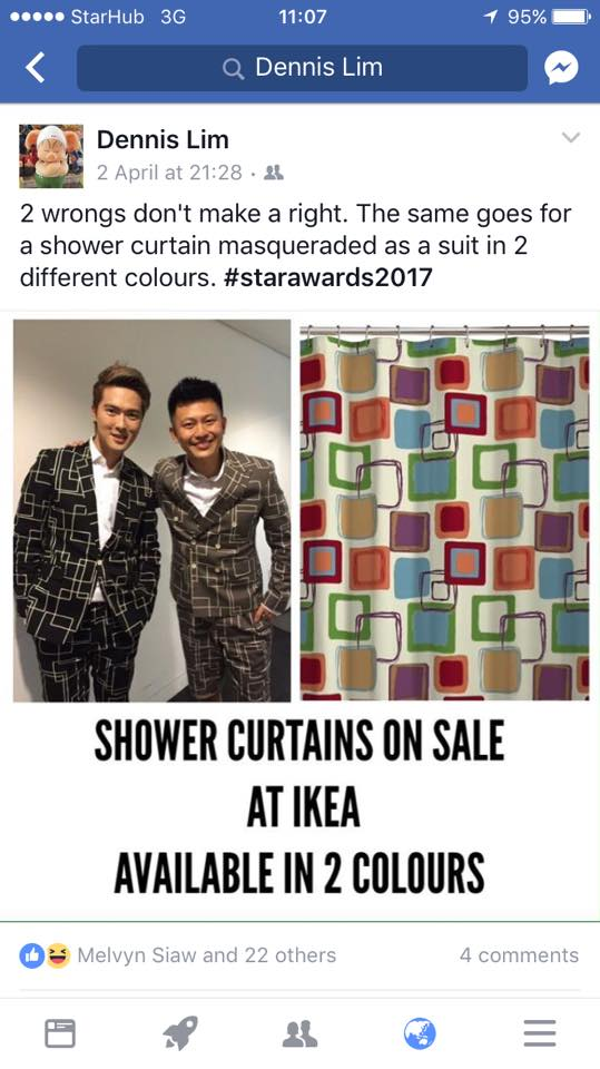 This guy totally owned the fashion disasters at Star Awards 2017 - Alvinology
