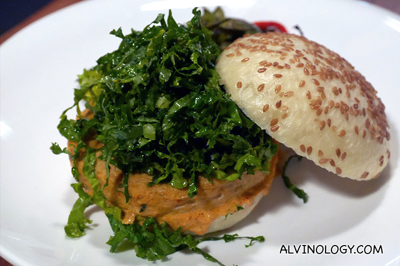 Angela May Burger ($22) – Steamed flax seed mantou buns, red curry prawn and fish patty, kale salad, laksa yogurt sauce