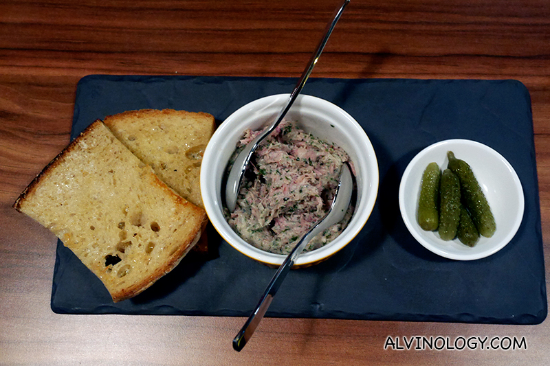 Appetizer: L'Entrecôte Duck Rillettes ($18) – Crunchy pickled gherkins and grilled buttered sourdough from Do.Main