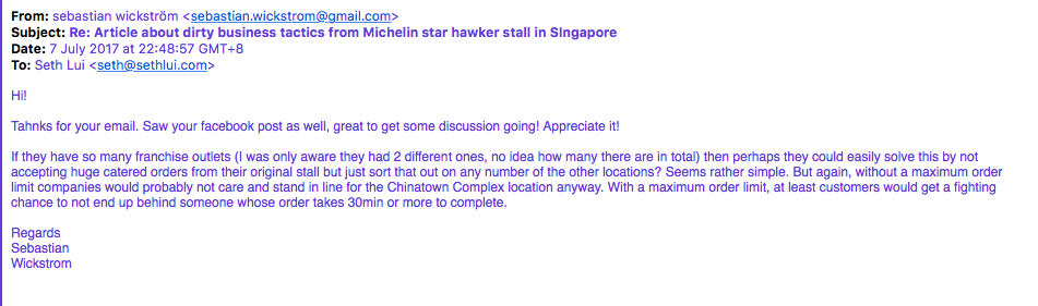 Foodies and netizens react to angry Michelin Star hawker stall customer Wickstrom - Alvinology