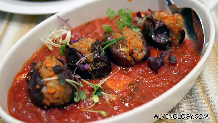 Eggplant Munazalle - Baby eggplant stuffed with minced lamb, sauteed onion and tomato sauce