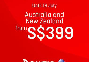 Flash Sales: Fly with Qantas to Australia and New Zealand from S$399 only for 17-19 July