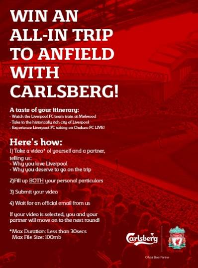 One day left to win a VIP trip to Anfield, UK to see the Liverpool FC team train and take on Chelsea, thanks to Carlsberg - Alvinology