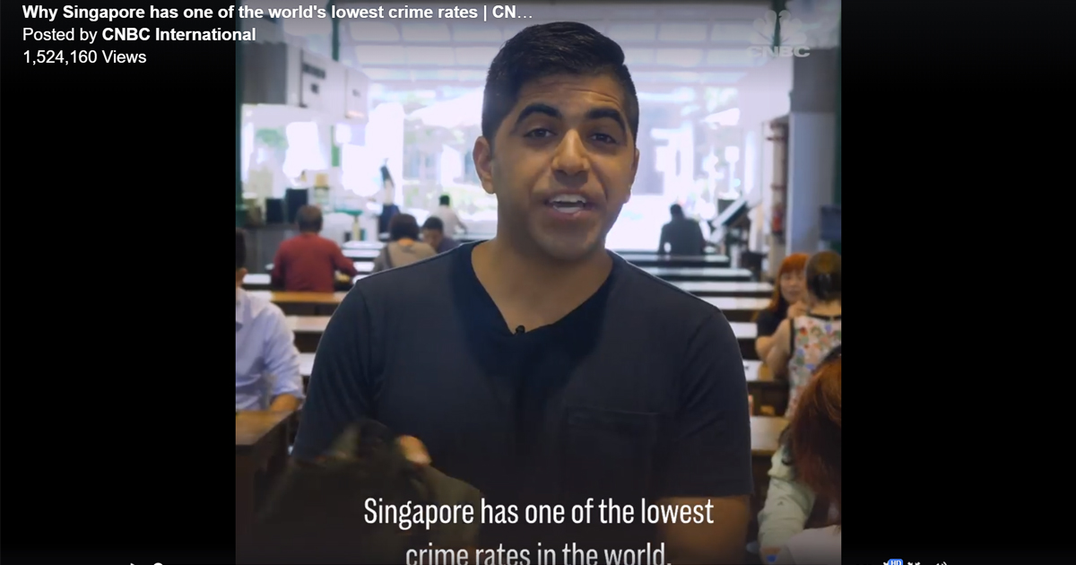CNBC: Singapore is the world's 2nd lowest in crime rate. You can leave your belongings in public places. - Alvinology