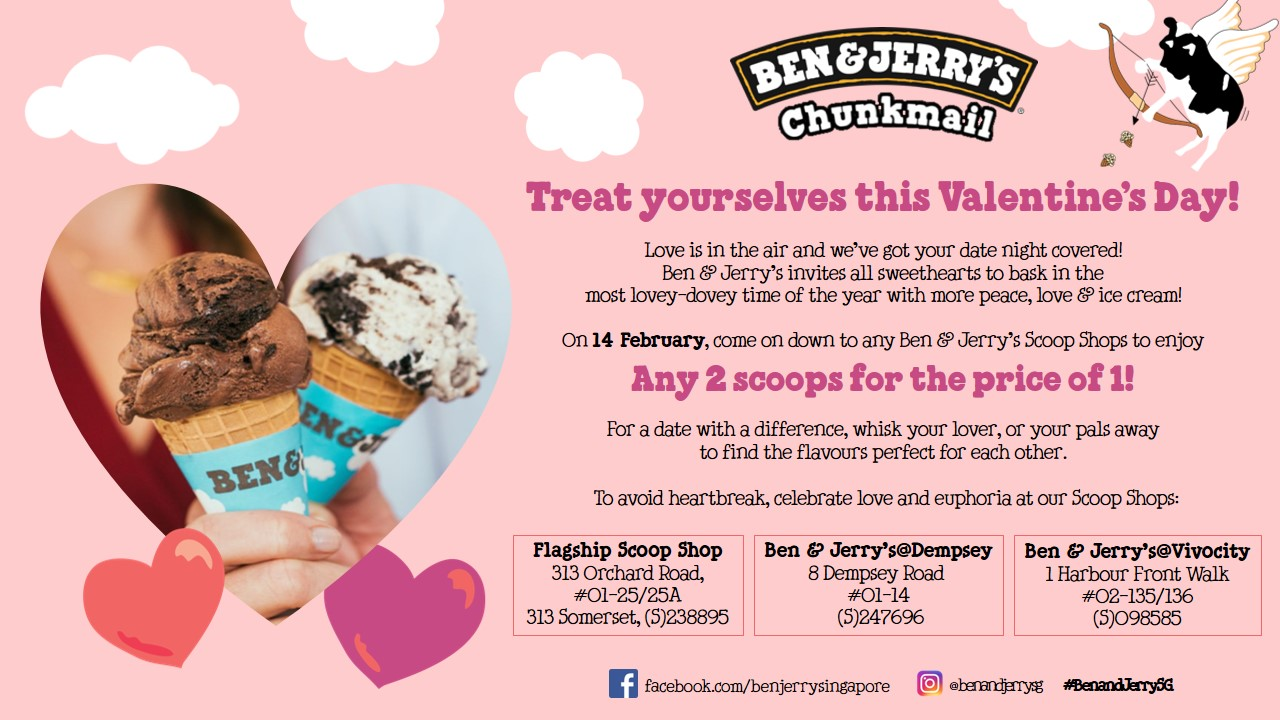 Ben & Jerry's buy 1 take 1 at all scoop shops happens on Valentine's Day - Alvinology