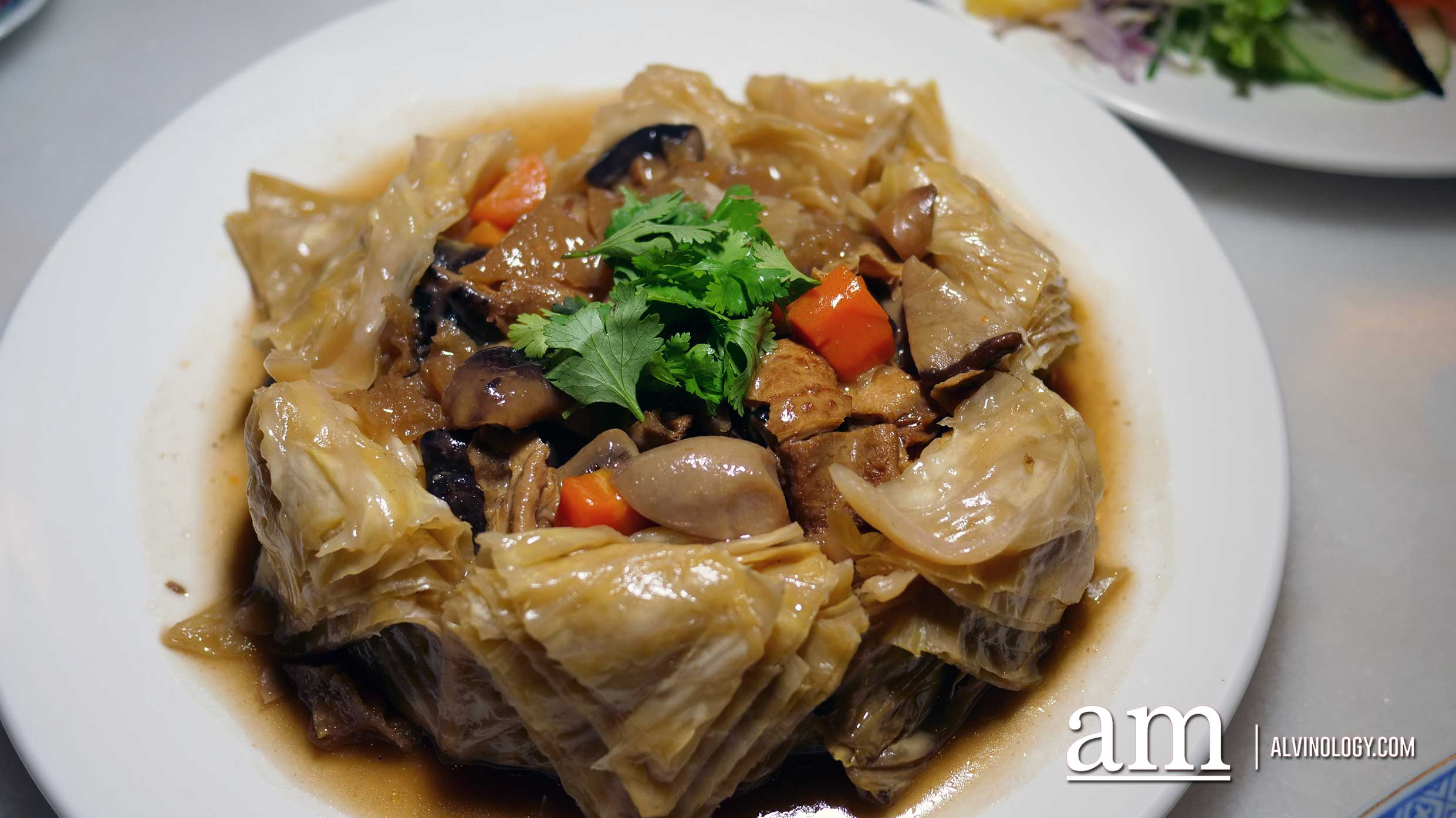 Nonya steamed cabbage with mixed mushroom and pork skin