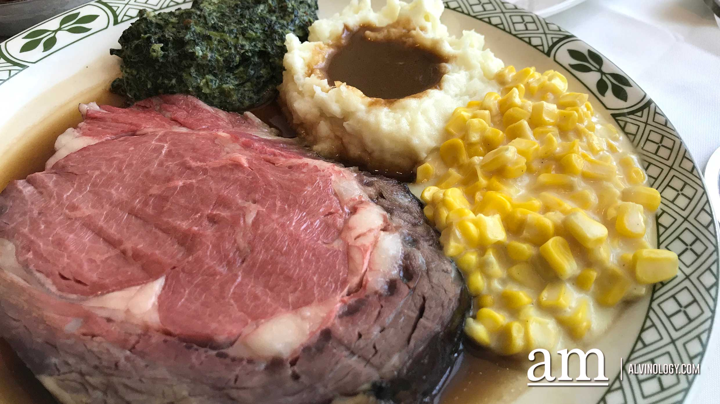 Let The Romance Begin - Signature roasted USDA prime rib of beef, 180 grams roasted prime rib of beef carved and served with US Idaho mashed potatoes, Yorkshire pudding, whipped cream horseradish, with a choice of creamed corn, creamed spinach or buttered peas