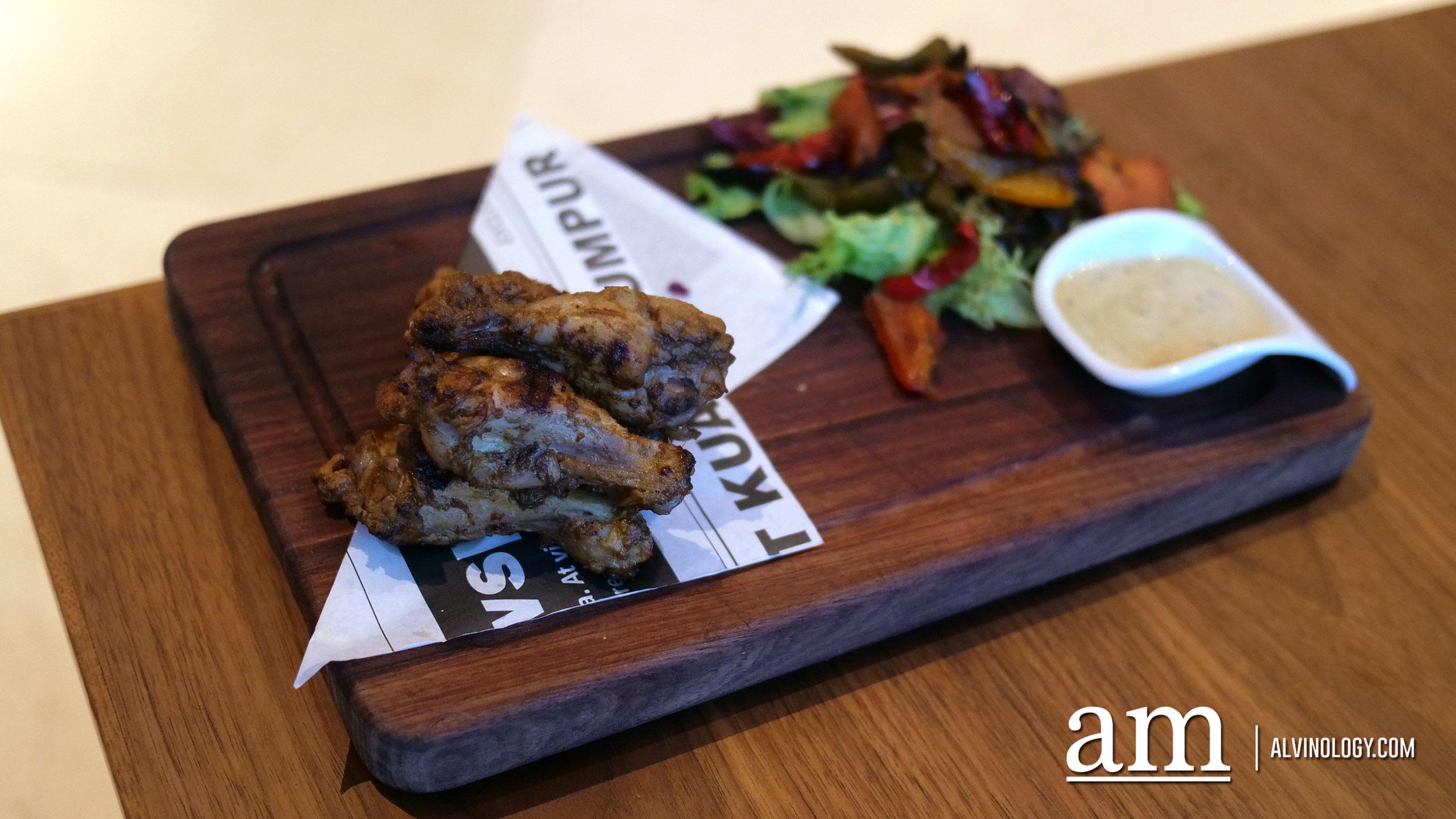 Hot & Spicy Buffalo Chicken (RM38) - Spicy peri-peri glaze, Stilton cheese dressing, warm roasted vegetable salad
