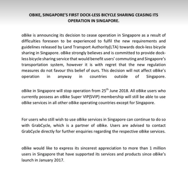 oBike stops operations in Singapore, users having trouble getting $49 refund - Alvinology