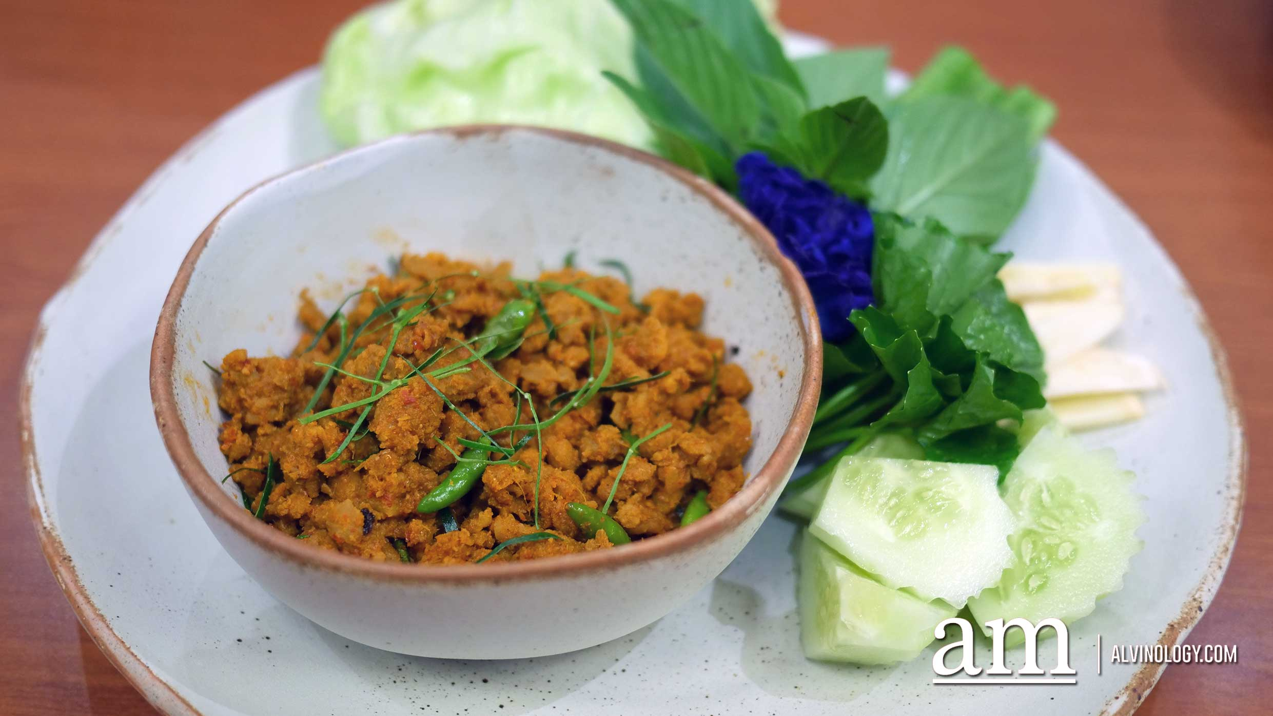 Signature Khua Kling Moo Sab (stir-fried spicy Southern Thai style dry Khua Kling curry with minced pork)