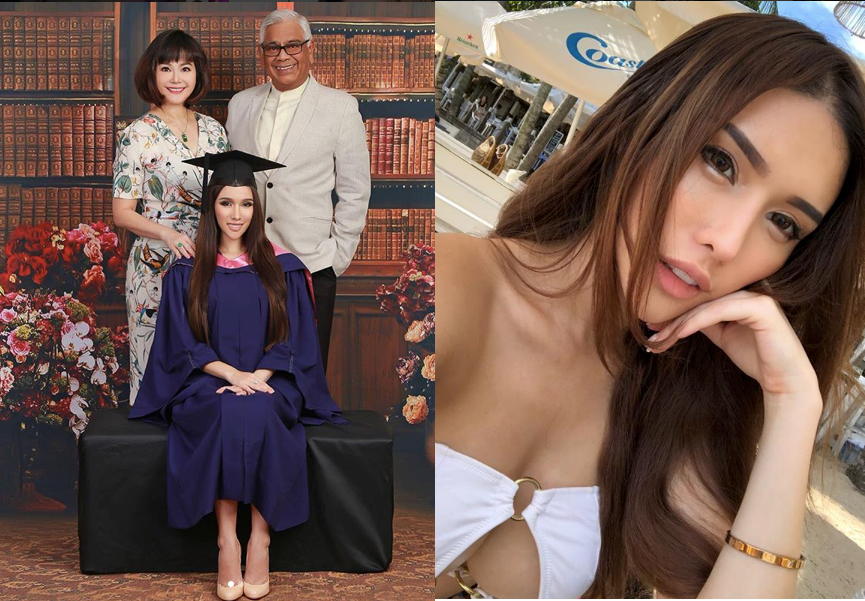 DJ Jade Rasif graduates with a National University of Singapore Psychology degree, poses with parents