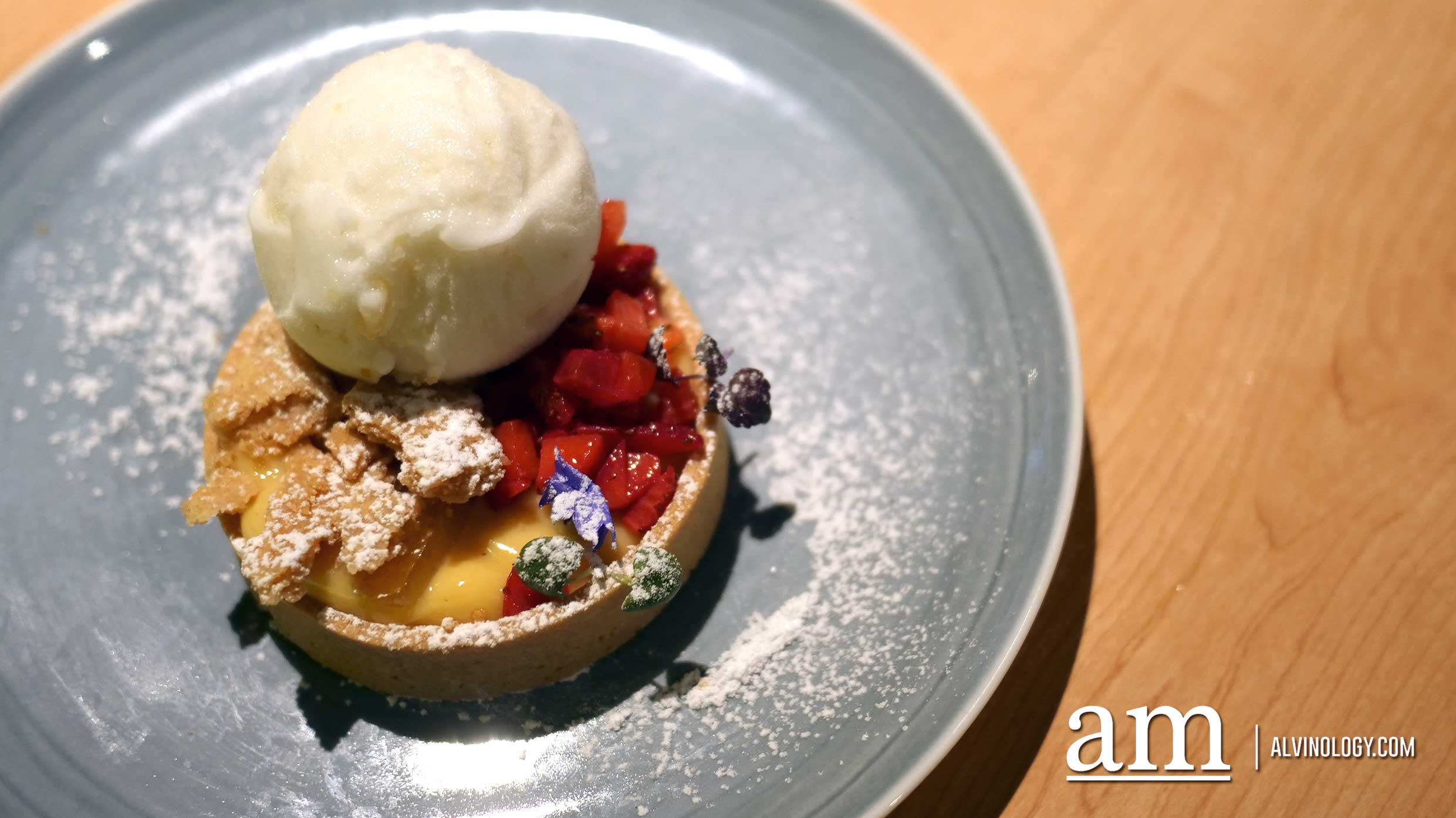 Lemon Tart ($9) - lemon custard, crumble, sorbet