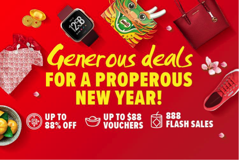 [GIVEAWAY] CNY Shopping with Lazada Singapore – 888 flash deals, up to 88% off, $88 vouchers up for grabs and more!