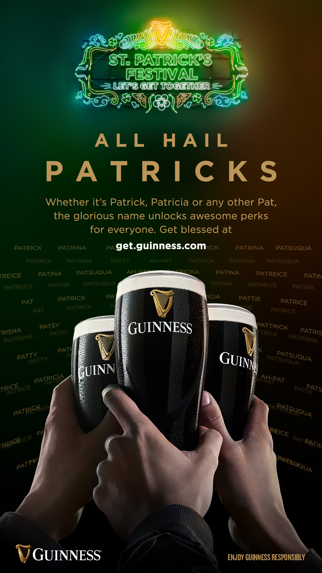 """All Hail Patricks! All names starting with """"Pat"""" gets $5 off ever Pint of Guinness and more rewards on St Patrick's Day - Alvinology"""