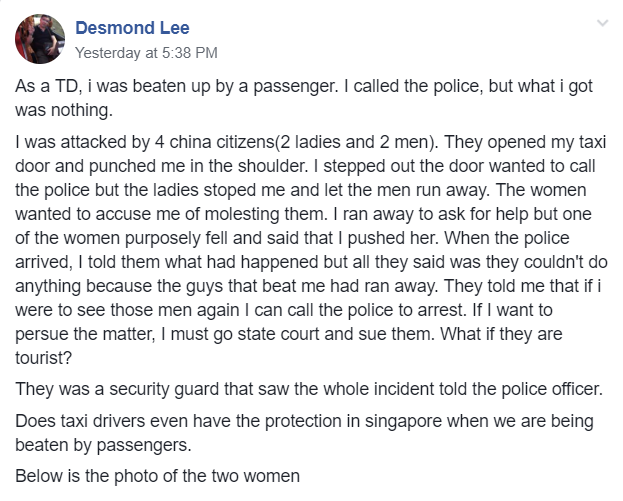 Chinese nationals allegedly beat up taxi driver Desmond Lee, threaten to accuse him of molestation - Alvinology