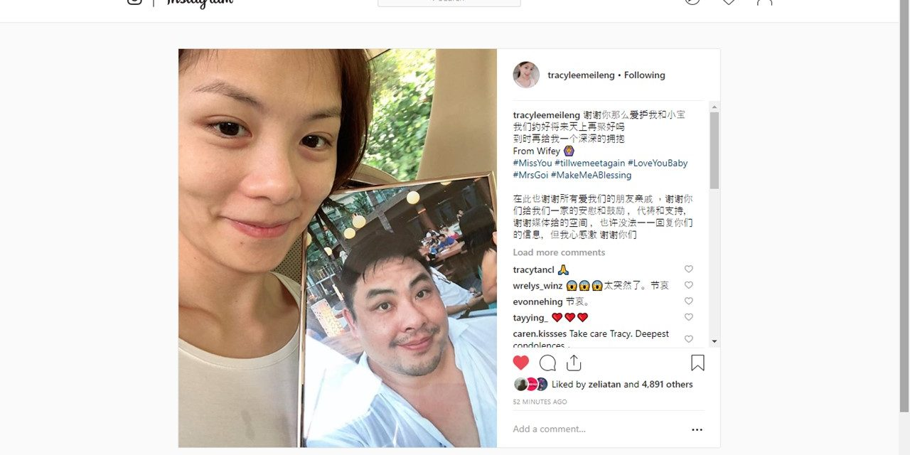 "Tracy Lee's Instagram farewell to husband, Ben Goi – ""Shall we make a date to reunite again in Heaven?"""