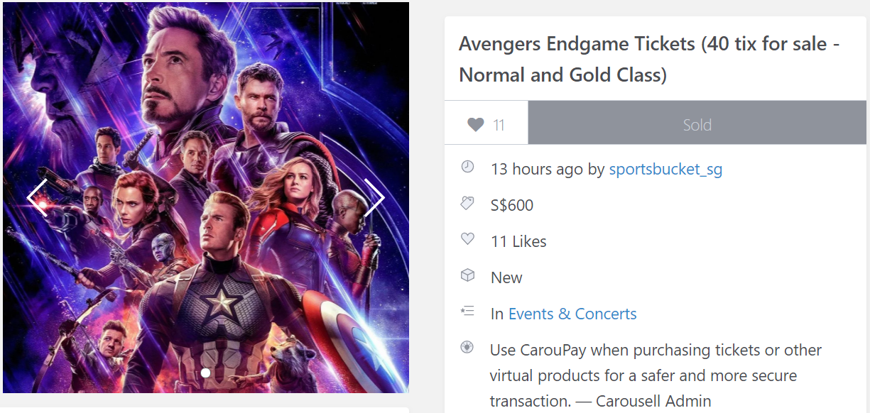 "Carousell guy sold 40 Avengers: Endgame tickets because his friends ""couldn't make it"""