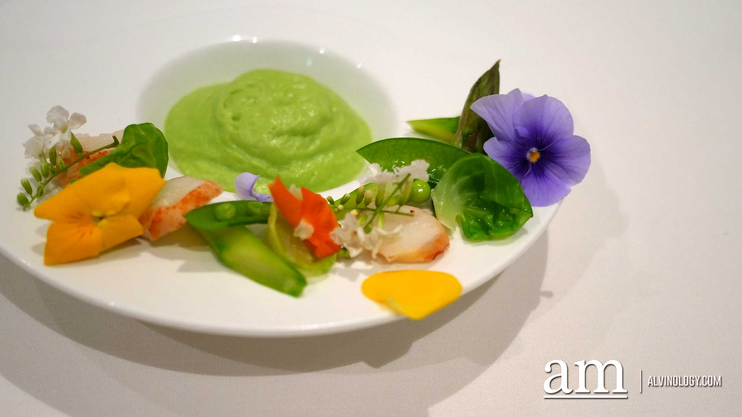 Lobster Medallion, Green Pea Espuma with 63°C Onsen Egg
