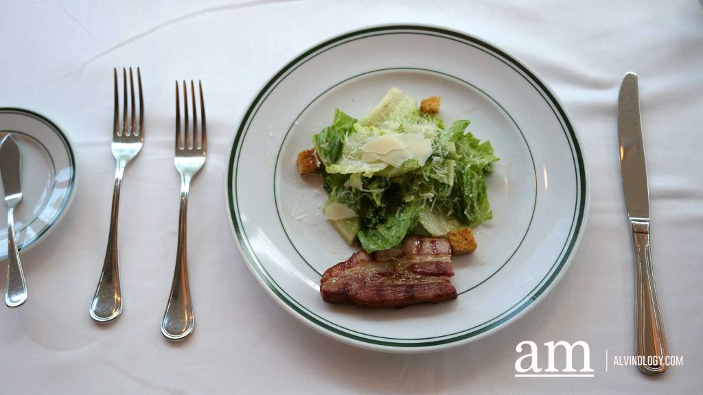 Caesar Salad with Sizzling Bacon