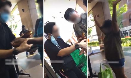 Singaporean grocery workers behaving badly