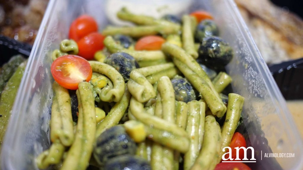 Penne Pasta Salad – Pesto| black olives | corn