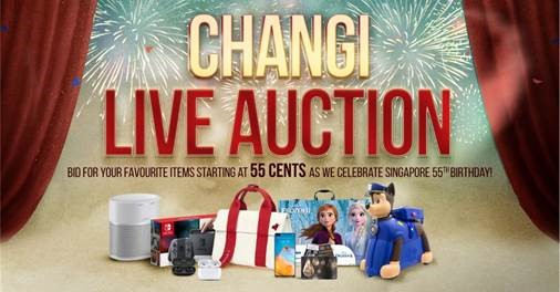 Changi Live Auction – bid for your favourite items and snag great deals for as low as 55 cents this National Day!