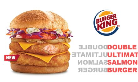 Celebrate the royal arrival of Burger King's Double Ultimate Salmon Burger – Salmon pink patties layered with cheese, caramelized onions, juicy tomato, and more!